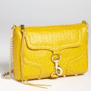 Rebecca Minkoff Mac Ostrich Embossed Clutch Gold